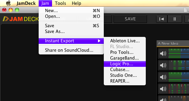 The Instant Export menu in JamDeck.